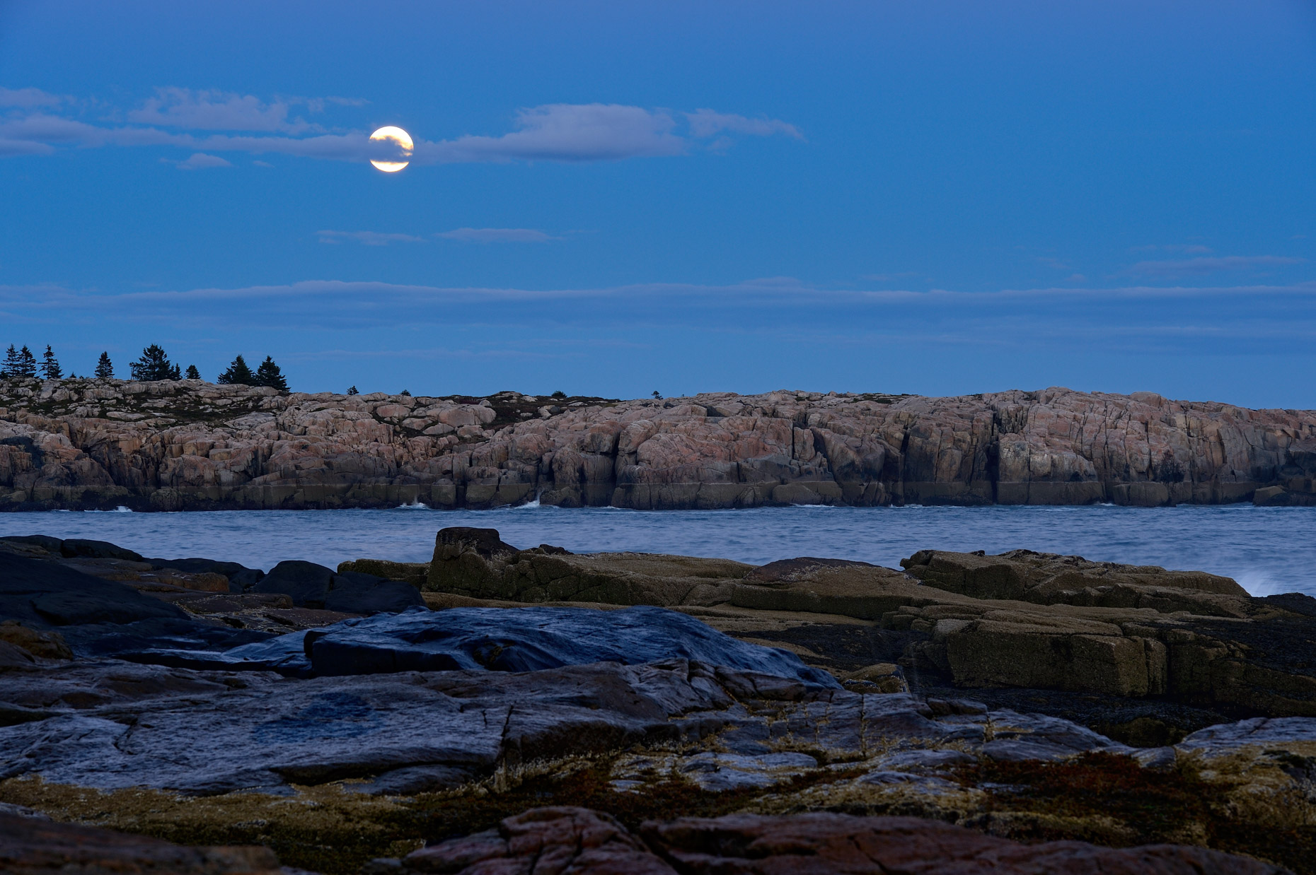 Harvest Moon over Schoodic Point (Maine)